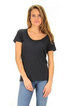 American Vintage - T-Shirts - Abbigliamento - T-shirt in cotone fiammato a manica corta. - CARBONE - € 40.00