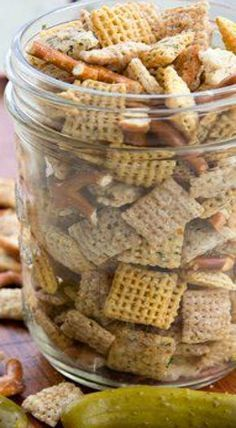 Healthy Snacks Dill Pickle Ranch Chex Mix More - Classic Chex™ party mix is addictive enough, but this summer, we're going crazy and adding a kiss of ranch and an irresistible dill-pickle punch. Snack Mix Recipes, Appetizer Recipes, Cooking Recipes, Snack Mixes, Party Appetizers, Appetizer Ideas, Dip Recipes, Candy Recipes, Recipies