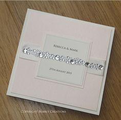 Diamante Wedding Invitation | Crystal Cluster Wedding Invite | Silver, Sparkly Stationery | Handmade, Luxury, Elegant, Glitzy - SAMPLE by BubblyWeddings on Etsy https://www.etsy.com/listing/222363809/diamante-wedding-invitation-crystal
