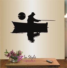 Wall Vinyl Decal Home Decor Art Sticker Fishermen in a Boat Fishing Guy Hat Sea Ocean River Room Removable Stylish Mural Unique Design ** Continue to the product at the image link. (This is an affiliate link) #KidsRoomDecor