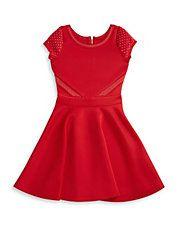 Girls 7-16 Embellished Fit-and-Flare Dress