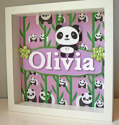 Cute Purple and Green Panda Art - Personalized Children's Room Decor - Girl's, Nursery, Baby Art. $35.00, via Etsy.