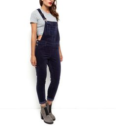 Navy Cord Dungarees  | New Look