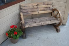 More Western decorating ideas. Love this wagon wheel bench