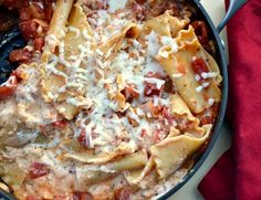 use no-bake noodles and home-made sauce with sausage, ricotta, parmesan and mozzarella
