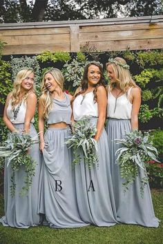Boho Loves: Revelry - Affordable, Trendy, And Designer Quality . Boho Loves: Revelry - Affordable, Trendy, and Designer Quality boho bridesmaid dresses - Bridesmaid Dresses Beach Wedding Bridesmaid Dresses, Dusty Blue Bridesmaid Dresses, Beach Wedding Bridesmaids, Grey Bridesmaids, Wedding Gowns, Wedding Beach, Casual Wedding, Bridesmaid Separates, Bridesmaid Ideas