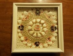 SAILOR'S VALENTINE IN SQUARE SHADOW BOX FREE SHIPPING