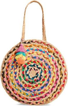 Shiraleah Mirabel Woven Jute Round Tote Sold Out at Nordstrom Jute, Diy Bags Purses, Crochet Tote, Round Bag, Summer Bags, Knitted Bags, Sisal, Handmade Bags, Fashion Stores