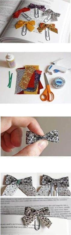 Diy Bow Bookmark:: i feel like i have to make one Dr who themed. Maybe supernatural, Harry Potter, Sherlock and all my other fandoms too. Does that mean I have fandom problem or a crafting problem? Weekend Projects, Diy Projects To Try, Sewing Projects, Diy And Crafts, Crafts For Kids, Arts And Crafts, Supernatural Crafts, Book Marks, Diy Bow