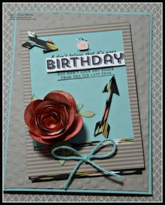 Ann's PaperWorks - Ann Lewis, Independent Stampin' Up! Demonstrator Australia.  See Ya Later Stamp Set; Spiral Flowers Die; Label Card Thinlits (arrows); Bird Builder Punch, Decorative Dots embossing folder; Pool Party and Sahara Sand; Sweet Sorbet DSP
