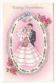 Vintage Greeting Card Cute Wedding Bride & Groom 1960s Silver Gilt a875