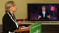 Green Party Leader Elizabeth May live-tweeted from Victoria to Conservative, Liberal and NDP leaders during the Globe and Mail leaders' debate in Calgary. She was not included in the event.