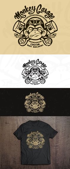 Design #155 by Hazel Anne | create a cool & nice, old school, crazy ape logo for our Monkey Garage