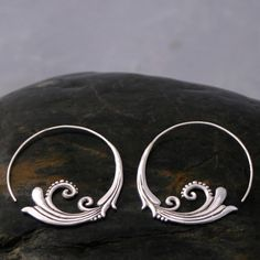 Flourish Hoop Earrings Sterling Silver by sanfranblissco on Etsy,