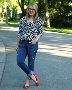 a simple geometric print with some broken in jeans and red accessories