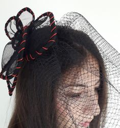 Blue Beads, Black Silk, Headdress, Beaded Embroidery, Veil, Special Occasion, Hair Accessories, Glamour, Fascinators