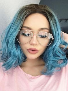 Blue Wigs Lace Frontal Hair Easy Hairstyles Half And Half Wig Hair Wig – xxshoop Bob Lace Front Wigs, Synthetic Lace Front Wigs, Synthetic Wigs, Frontal Hairstyles, Wavy Bob Hairstyles, Easy Hairstyles, Lily Collins, Blue Wig, Teal Blue