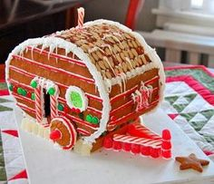 Gingerbread Trailer--could try to make our Boler...   Shhh, don't tell my sister.  I'm going to make her one of these for Christmas.