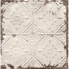 "Found it at Wayfair Supply - Tin Ceiling Distressed 33' x 20.5"" Geometric Wallpaper"