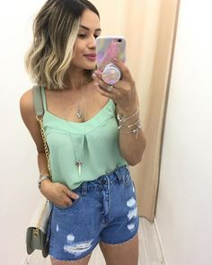 Warm Outfits, Short Outfits, Summer Outfits, Casual Outfits, Cute Outfits, Look Fashion, Fashion Beauty, Girl Fashion, Formal Wear Women