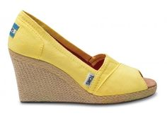 Yellow Calypso Canvas Women's Wedges from Toms Shoes - I'm wearing these in my brother's wedding (the whole wedding party is wearing Toms of their choice)!