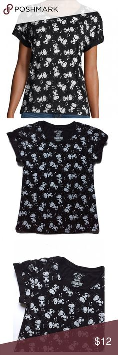 Snoopy music note print tee * -by Mighty Fine's Peanuts collection  * -Black lightweight tee with happy Snoopy & musical note print * -Size Juniors S * -65% poly/35% rayon * -24in. long * -16in. across chest area * -Short cuffed sleeves  * -EUC, worn only twice, looks barely touched Mighty Fine Tops Tees - Short Sleeve