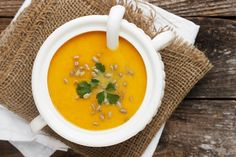 Simply Perfect Roasted Butternut Squash Soup Recipe Soups with butternut squash, butter, diced onions, chicken stock, cinnamon, maple syrup, cream