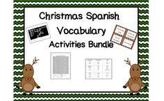 Spanish Vocabulary Activities for Christmas! Spanish word search, crossword, vocabulary matching game, Taboo cards, and Flyswatter. http://smithsonthecoast.blogspot.com/