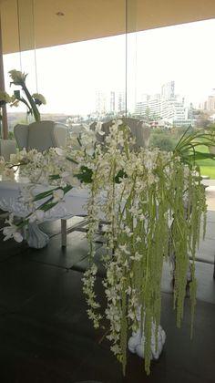 Detalle mesa de novios all white