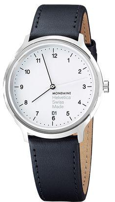 "Mondaine Helvetica Watch. Unisex / Leather / Black /// It doesn't get ""swisser"" than that."