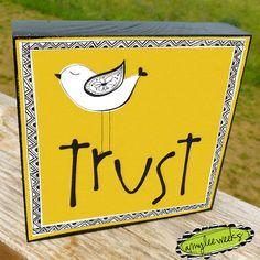Christian Art  Roman Words  Trust art block size5x5 by amyleeweeks, $20.00