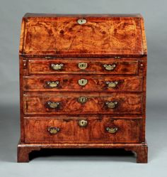 This is an example of a writing desk that is Georgian because of the dark wood and how you can see the grain of the wood. This is Queen Anne and Chippendale style furniture because notice the locks on all the drawers. This emerged during this time period. English Antique Furniture, Georgian Furniture, Colonial Furniture, Antique Desk, Furniture Styles, Find Furniture, Georgian Architecture, Vintage Interiors, Old Antiques