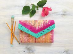 Women's purse with hand painted design, Mint green and magenta clutch bag, Envelope clutch with abstract design Foldover Clutch, Envelope Clutch, Clutch Purse, Painted Bags, Hand Painted, Magenta, Custom Clutches, Handmade Clutch, Canvas Purse
