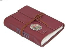 Burgundy Leather Journal with Auto Cameo Bookmark  - Ready To Ship by boundbyhand on Etsy