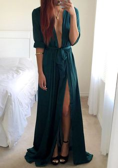 This teal blue plunge maxi dress features V plunge neckline in front, together with elastic waist and long sleeves detailing, high front slit, and adjustable and removable belt. | Lookbook Store