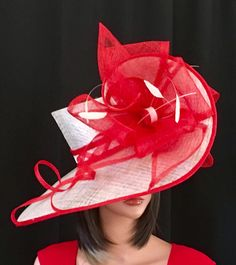 9d2747225 Kentucky Derby red hat, ivory hat, , Red Derby hat, women hat, Royal Ascot  hat, couture fashion hat, formal hat, wedding, r