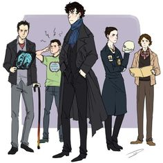 House, Shaun, Sherlock, Bones, and Reid together at last. [artist unknown]