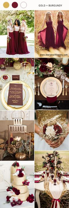 Gold and burgundy wedding color ideas