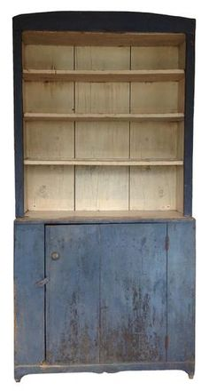 Early 19th century Cumberland County North Carolina open top Pewter Cupboard with original blue and white paint, original mushroom knob and spinner. circa 1820-1840