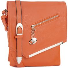 Women's MKF Collection Crossbody Bag (£22) ❤ liked on Polyvore featuring bags, handbags, shoulder bags, orange, handbags crossbody, shoulder handbags, leather crossbody handbags, leather purses and red leather purse
