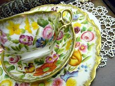 c1891-1932 Antique Teacup Tea Cup Trio -  Ovington - Hammersley Chintz - 8792