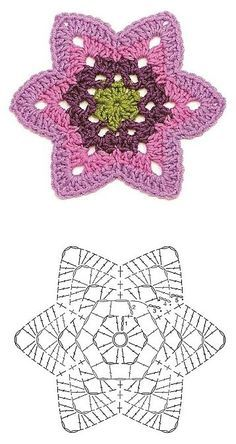 Transcendent Crochet a Solid Granny Square Ideas. Inconceivable Crochet a Solid Granny Square Ideas. Crochet Diy, Crochet Doily Diagram, Crochet Motifs, Crochet Flower Patterns, Crochet Crafts, Crochet Doilies, Crochet Flowers, Crochet Stitches, Crochet Projects