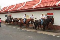 At McDonald's on horseback. Always wanted to do this, except at anywhere but McDonald's. This picture must be in Texas Funny Horses, Funny Animals, Barn Animals, Country Life, Country Girls, Country Prom, Country Strong, Country Charm, Country Living