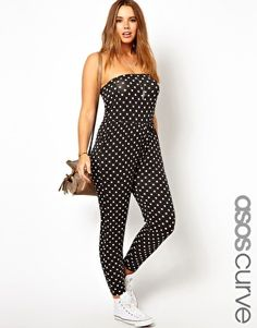 I just can't, y'all. ASOS CURVE Exclusive Bandeau Jumpsuit In Spot Print