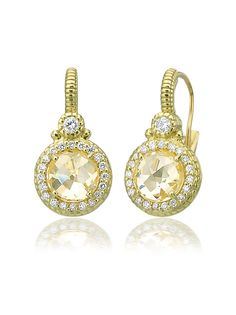 Judith Ripka 18K Micro Pave` Earrings with Canary Quartz