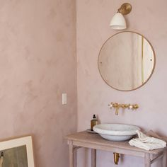 Our most popular shade of pink, Skin Powder on the walls in this gorgeous bathroom. Remember to protect Fresco paint from water stains with Eco Sealer Cred. Lime Paint, Old Stone Houses, Diy Wall Painting, Tadelakt, Modern Farmhouse Bathroom, Pink Room, Pink Walls, Home Interior, Bathroom Inspiration