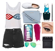 """""""Watching Pixels with Aafreen!"""" by shinellezs ❤ liked on Polyvore featuring Topshop, Vans, Michael Kors, Forever 21, Ray-Ban, NARS Cosmetics, OPI, LORAC and MAC Cosmetics"""