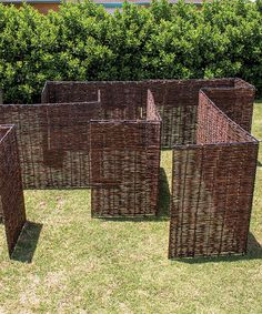Look at this Willow Maze Playhouse // wicker backyard maze for kids!! And pets! Reconfigurable backyard labyrinth made of wood reeds. I want to try to figure out how to make this a DIY backyard maze!