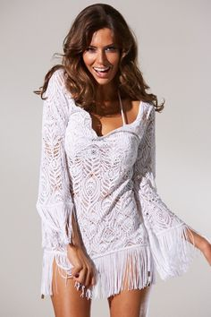 53dfe2ce6c INCA+Fairy+White+Crochet+Fringe+Dress+Cover-Up+at+Pesca+Boutique.+Amazing+ White+Crochet+Cover-Up.+ Fringe+on+Sleeves+and+Hemline.+  Hand+Wash+in+Cold+Water.