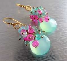 Aqua Chalcedony With Pink Moonstone Gold Filled by SurfAndSand